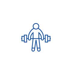 strong athlete lifting weights line icon concept vector image
