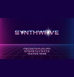 Synthwave chrome font 80s sci-fi retro style dark vector