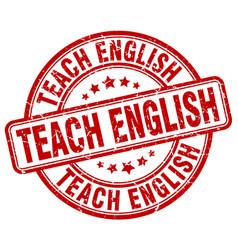 Teach english red grunge stamp vector