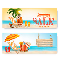 two summer sale banners with beach chair and vector image