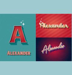 Typography name alexander retro graphic design vector