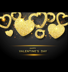 valentines day horizontal background with shining vector image