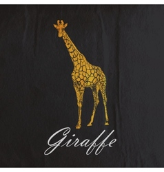 Vintage of an orange giraffe on the old blac vector