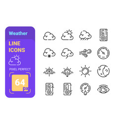 weather linear icons set vector image
