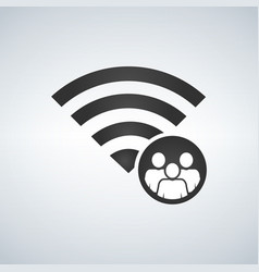 wifi connection signal icon with crowd or users vector image