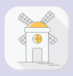 Windmill or mill line icon with long shadow vector
