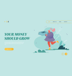 Woman with money cash website landing page people vector