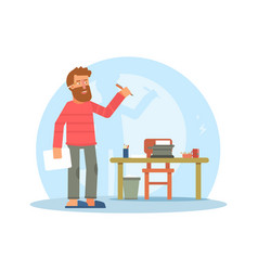 Writer author flat character vector
