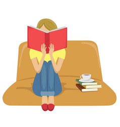 young woman reading book sitting on sofa vector image