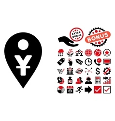 Yuan Map Marker Flat Icon with Bonus vector