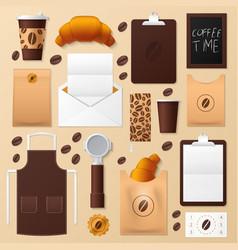 Coffee shop identity template mockup vector