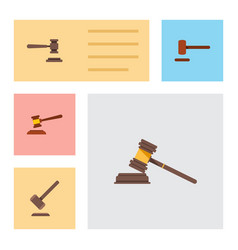 flat icon lawyer set of hammer legal tribunal vector image vector image
