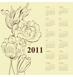 floral calendar for 2011 vector image vector image