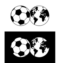 Globe and soccer ball composition vector image vector image