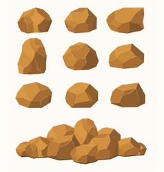 stones and rocks brown stones boulders vector image vector image