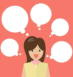 Thinking business woman with a lot of bubbles vector