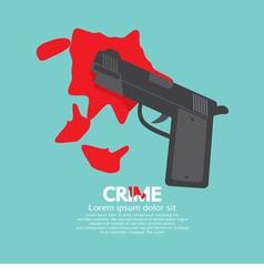 Bloody gun criminal concept vector