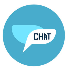 chat bubble icon web button on round blue vector image