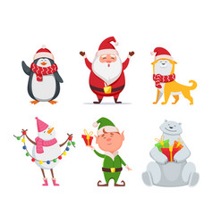christmas characters in cartoon style santa vector image