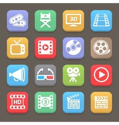 Cinema and movie icons for web or mobile vector image