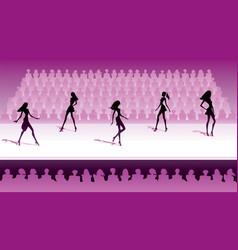 fashion models make catwalk show vector image
