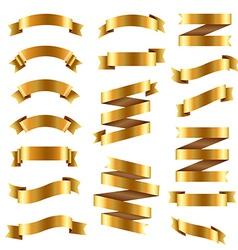 Golden Ribbon Big Set vector image vector image