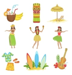 Hawaiian Vacation Set Of Classic Symbols vector image vector image