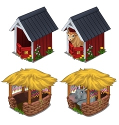 Hippo and bull in cozy enclosures for animals vector image vector image
