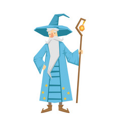 magic old man with magic staff colorful fairy vector image vector image