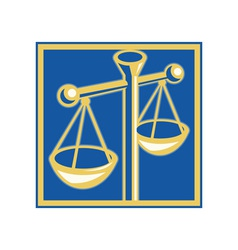 scales of justice set inside a square vector image vector image