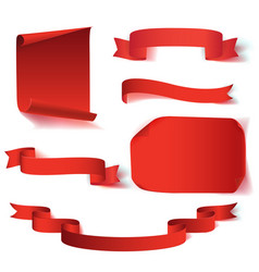 set of six red realistic paper banners vector image vector image