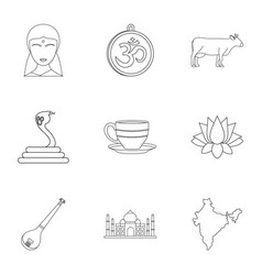 tourism in india icon set outline style vector image vector image