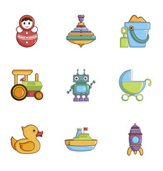 Children toys icons set cartoon style vector