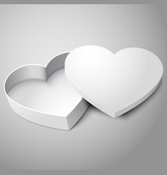 realistic blank white opened heart shape box vector image vector image