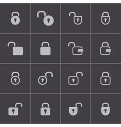 black lock icons set vector image
