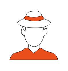 Color silhouette image cartoon faceless half body vector