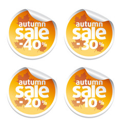 set with sale autumn stickers vector image vector image