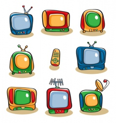 tv icon set vector image vector image