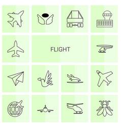 14 flight icons vector image