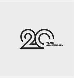 20 years anniversary sign isolated for celebration vector image