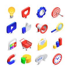 3d social marketing icons isometric web seo likes vector