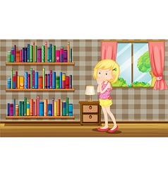 A girl inside house full of books vector