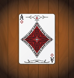 Ace of diamonds poker card varnished wood vector