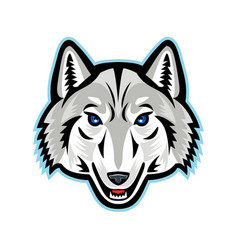 Artic wolf head front mascot vector