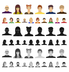 Avatar and face cartoon icons in set collection vector