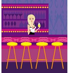 Bartender serves a drink vector