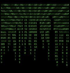 binary code zero one matrix green background vector image