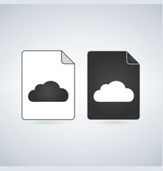 black and white cloud file icon isolated on white vector image