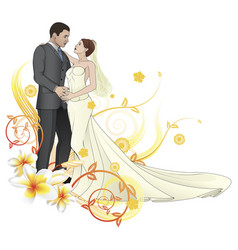 Bride and groom dancing floral background vector