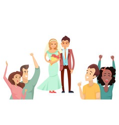 bride with bouquet and happy groom in cute suit vector image